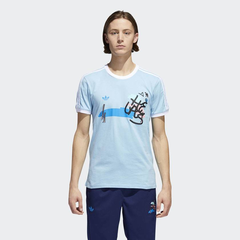 ADIDAS ADIDAS X HELAS JERSEY T-SHIRT LIGHT BLUE / MULTI COLOR