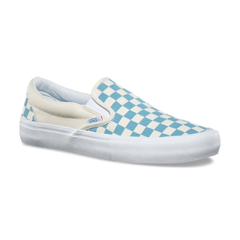 vans slip on baby blue checkerboard