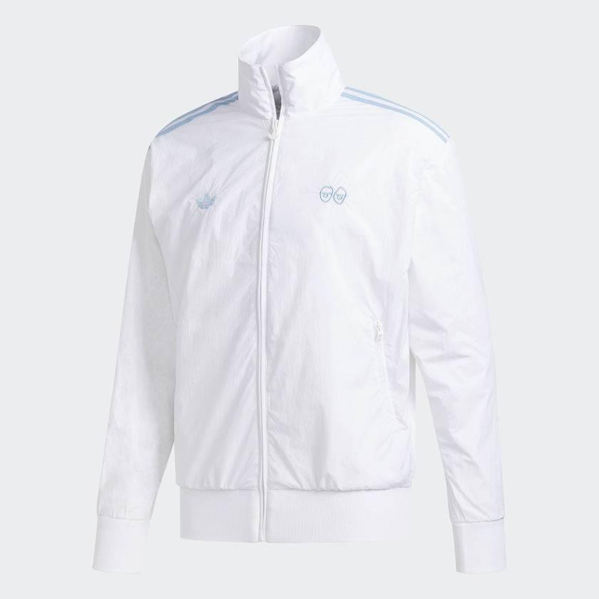 adidas x krooked traccia giacca bianca / azzurro bluetile skateboards.