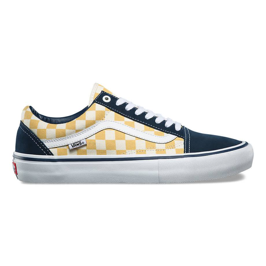 vans old skool checkerboard with yellow