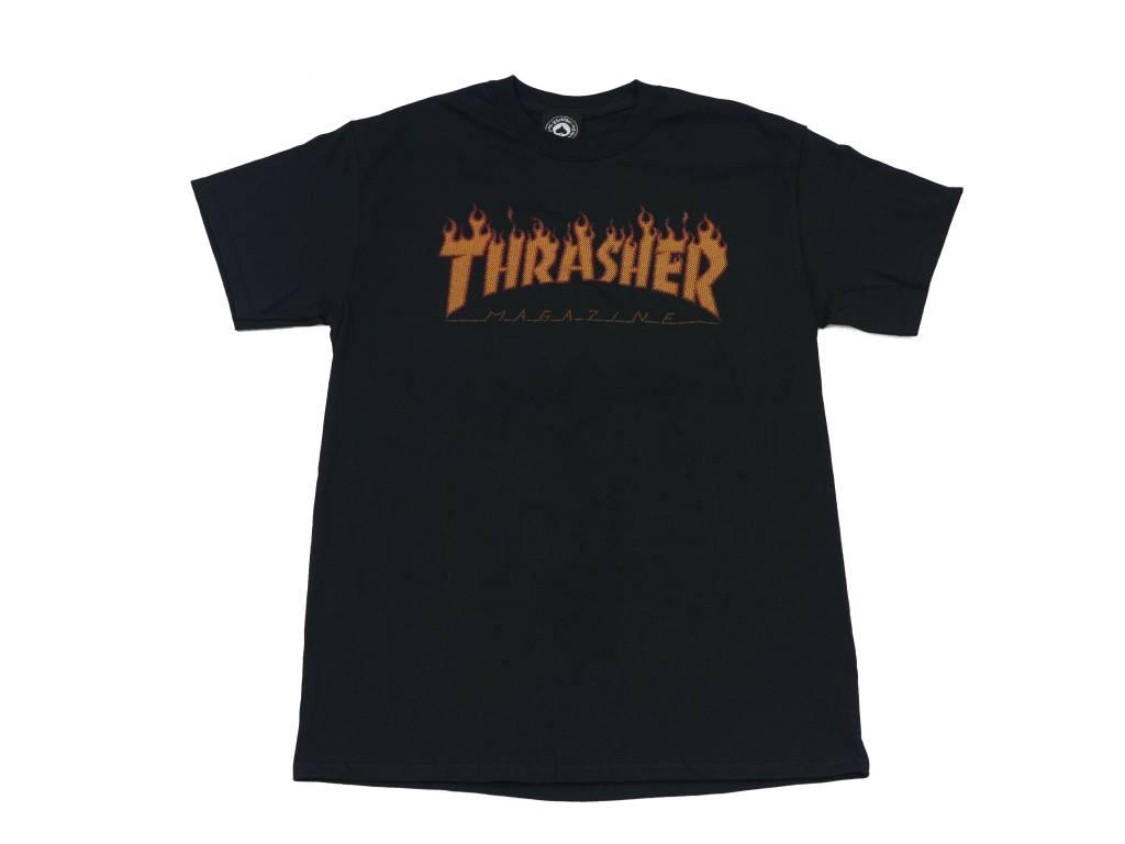 THRASHER THRASHER FLAME HALFTONE T-SHIRT BLACK