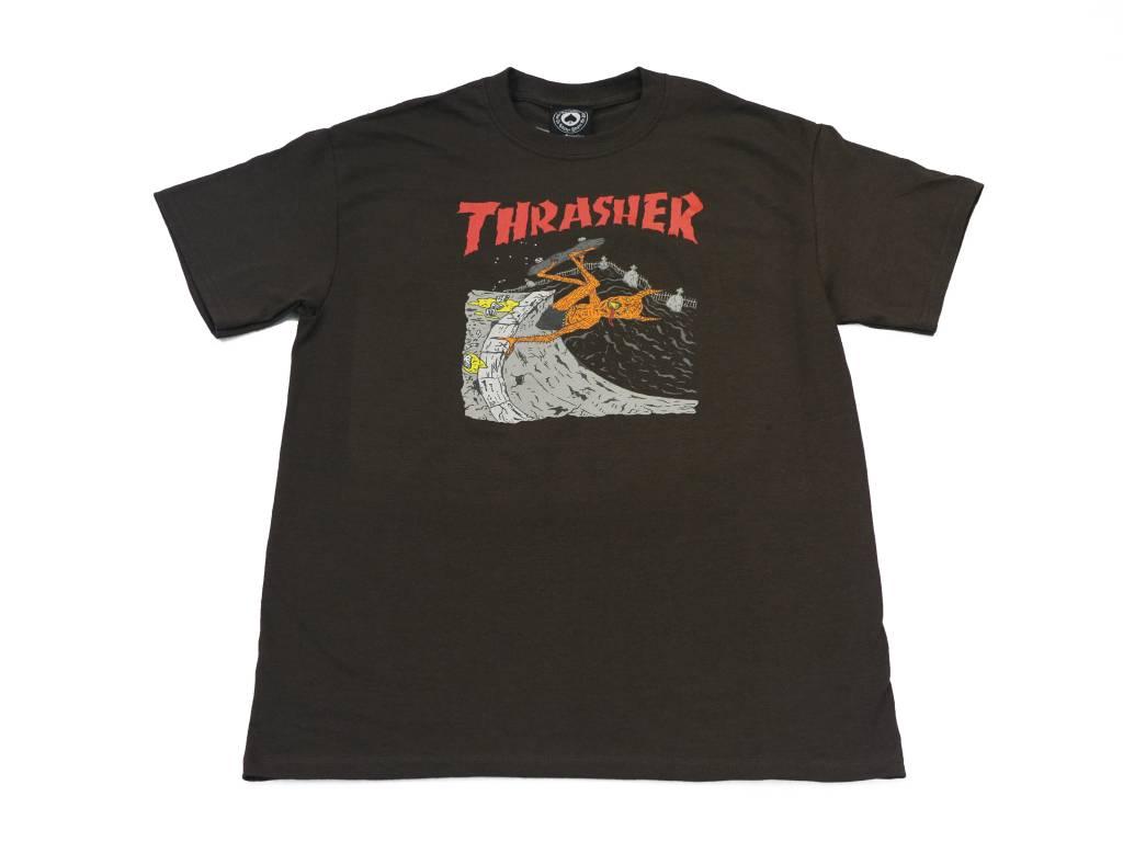 THRASHER THRASHER NECKFACE INVERT T-SHIRT BROWN