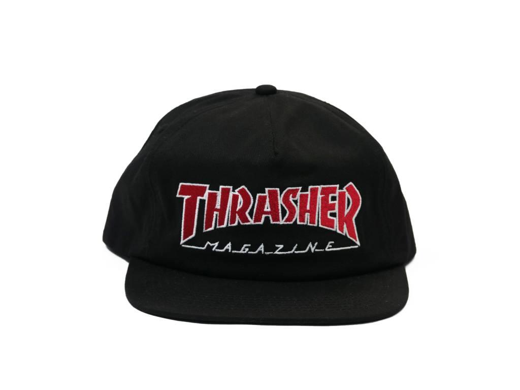 THRASHER THRASHER OUTLINED SNAPBACK BLACK