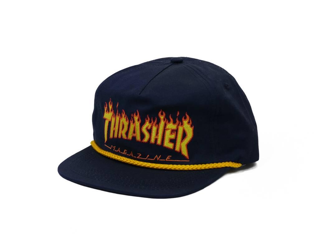 THRASHER THRASHER FLAME ROPE SNAPBACK NAVY