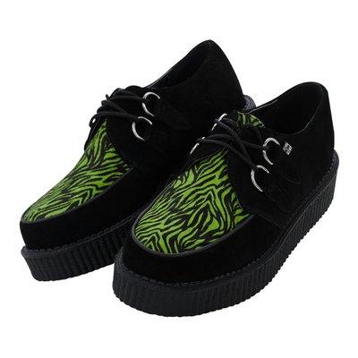TUK Black Suede/Neon Green Zebra Creeper