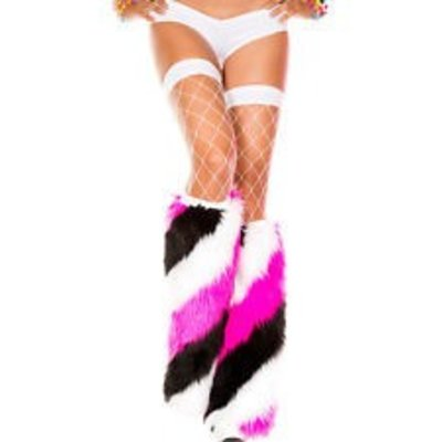 Music Legs Diagonal Stripe Faux Fur Fluffies