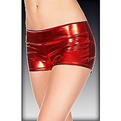 Music Legs Metallic Booty Shorts with Waistband - One size