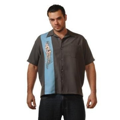 Steady Single Pin-Up Shirt, Charcoal