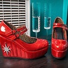 TUK Red Patent Sparkle Mary Jane Wedge