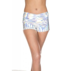 Music Legs Shiny Silver Booty Shorts