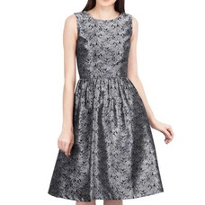 Vintage Goth Odell Silver Brocade Sleeveless Flared Dress