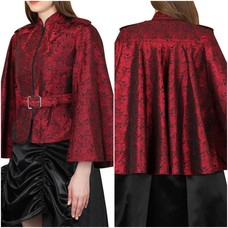 Vintage Goth Rambert Red Broc. Belted Cape/Jacket