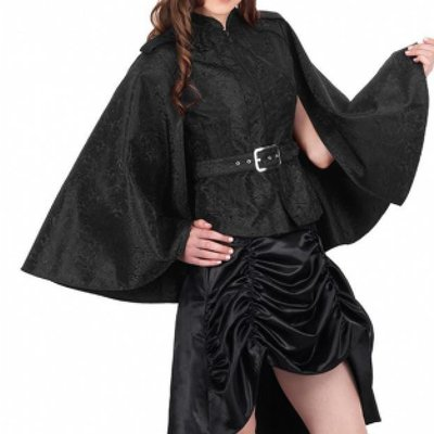 Vintage Goth Black Brocade Belted Cape/Jacket