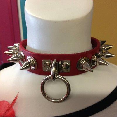 Kookie Leather Med Spike & Ring Collar