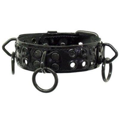 Kookie Leather Eyelets & Ring Collar