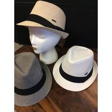 DeLux Hats Theo Raffia Fedora, Black Band