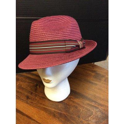 DeLux Hats Ava Fuschia Stitched Raffia Fedora