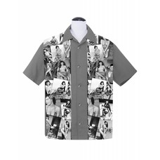 Steady Bettie Page Collage Panel Button Up Charcoal