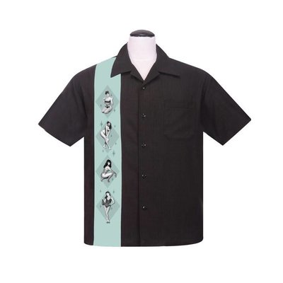 Steady Bettie Page Pinup Panel Button Up Black