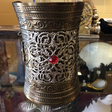 Embossed Metal Wristlet w/ Silver Filigree Red Ruby & Pewter