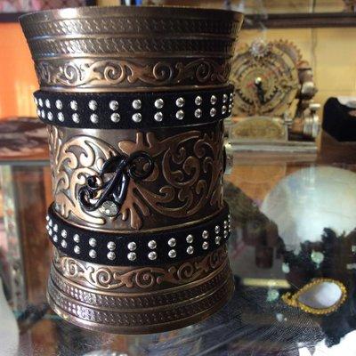 Embossed Metal Wristlet w/ Studded Black Leather Bands, Diamond Black Vine