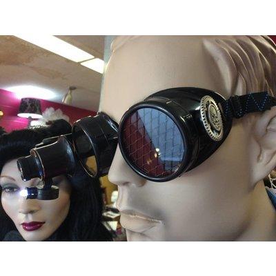 Black Goggles W/ 20x Loupe Mesh Lens Pewter Skull