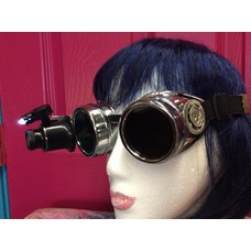 Silver Goggles W/ 20x Loupe Pewter Skull Gear