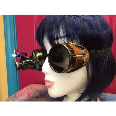 Brass Wash Goggles W/ Lighted Loupe & Pointy Thing