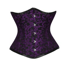 Vintage Goth Purple Scroll Brocade Underbust