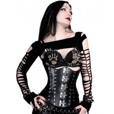 Timeless Trends Black Hard Leather Corset