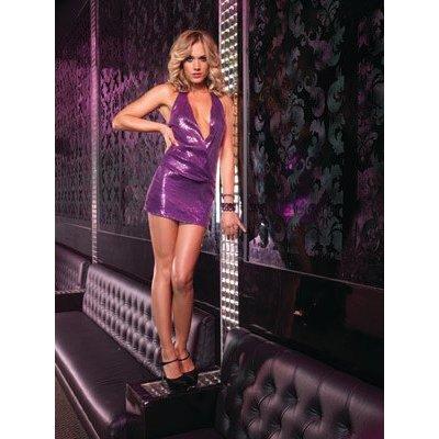 Leg Avenue Purple Sequin Halter Mini Dress M