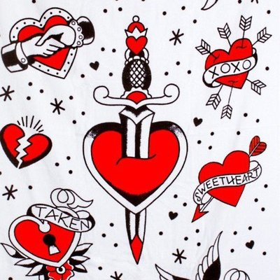 Sourpuss Tattooed Hearts Beach Towel