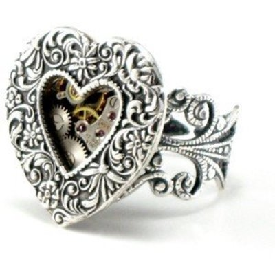 Ghostlove Heart Gears Ring, Silver tone