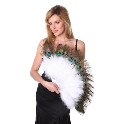 Marabou Fan with Peacock Eyes