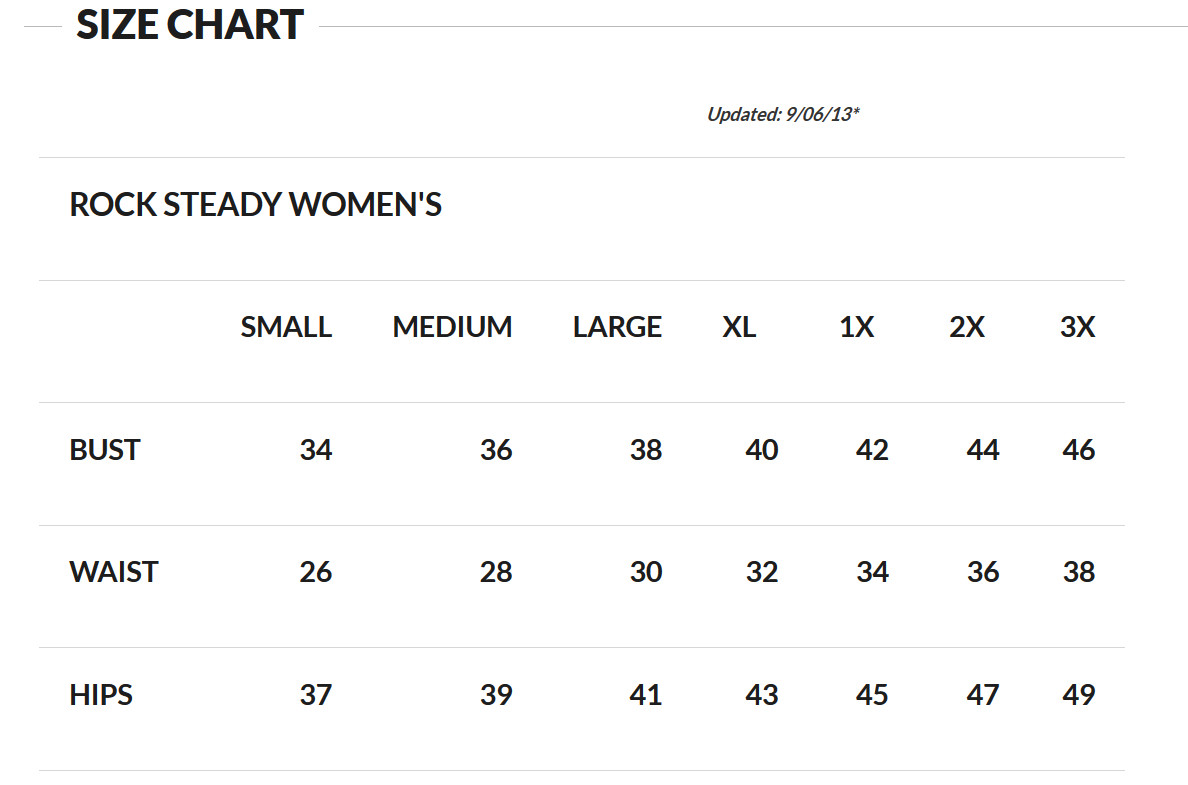Rock Steady Women's Size Chart