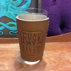 Trixie and Milo Leather Beer Sleeve- F*ck My Liver