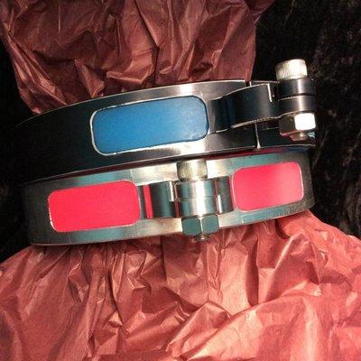 Apocalypse Hardware Glowing Blue Silicone Inlay Collar Black Rub-Off