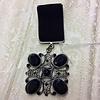 Dracula Clothing Onyx Velvet Medal Brooch