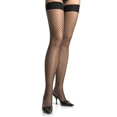 Leg Avenue Spandex Industrial Net Thigh Highs Plus - Black