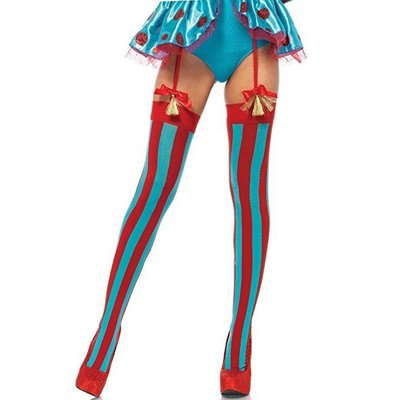 Leg Avenue Opaque Thigh Highs w/ Vertical Stripes Red/Blue