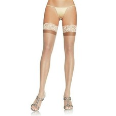 "Leg Avenue StayUp 3"" Lace Top Lycra Sheer Thigh High -Nude"