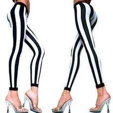 Music Legs Vertical B&W Striped Leggings