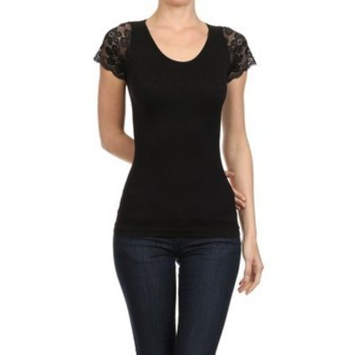 Yelete Black Seamless Top With Lace Cap Sleeves
