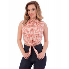Steady Rum Tiki Tie Crop Top Peach