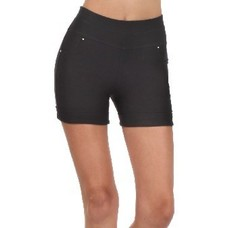 Yelete Ladies Getty Black Cotton Shorts w/ Rhinestones