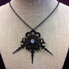 Gears & Lace Necklace w/ Blue Metallic Stone