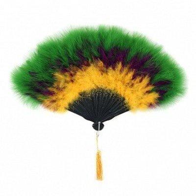 Marabou Feather Fan Multi Color MardiGras Mix