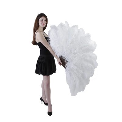 Ostrich Femina Feather Fan - White