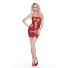 Music Legs Wet-Look Spagetti Strap Dress - One size
