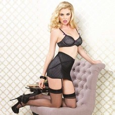 Leg Avenue 3Pc Lined Mesh Set W/ Flocked Dots